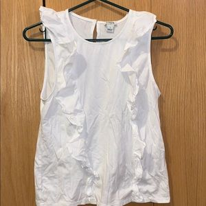 White J. Crew Tank with Fabric Detailing
